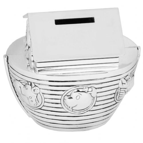 Silver Plated Noah's Ark Money Box Gift For New Baby and Christening keepsakes